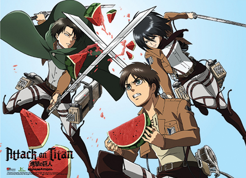 Attack On Titan - Eren, Mikasa And Levi Watermelon Fight Wallscroll, an officially licensed Attack On Titan product at B.A. Toys.