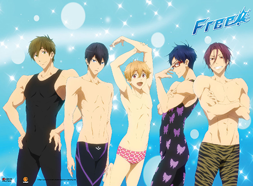 Free! - Makoto, Haruka, Nagisa, Rei & Rin Wall Scroll, an officially licensed product in our Free! Wall Scroll Posters department.