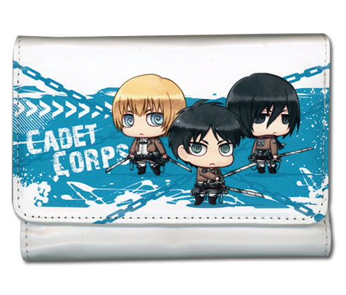 Attack On Titan - Eren, Armin & Mikasa Sd Girl Wallet, an officially licensed Attack On Titan product at B.A. Toys.