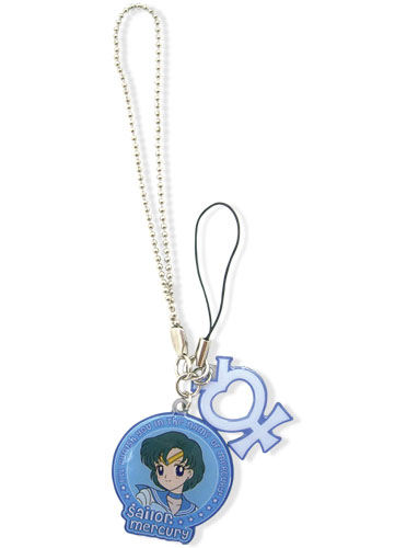 Sailor Moon Mercury & Symbol Metal Cell Phone Charm, an officially licensed Sailor Moon Cell Phone Accessory