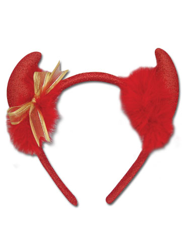 Devil Horn Headband- Devil Gold Ribbon Headband, an officially licensed product in our Devil Horn Headband department.