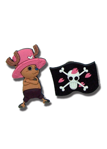 One Piece Chopper & Flag Pvc Pin Set, an officially licensed product in our One Piece Pins & Badges department.