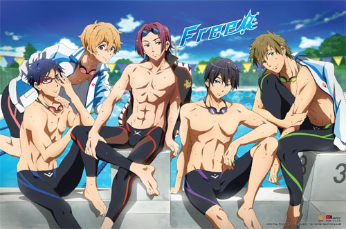 Free! - Group Swimsuit Paper Poster, an officially licensed product in our Free! Posters department.