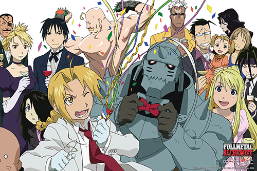 Fullmetal Alchemist - Group Celebration Paper Poster, an officially licensed product in our Fullmetal Alchemist Posters department.
