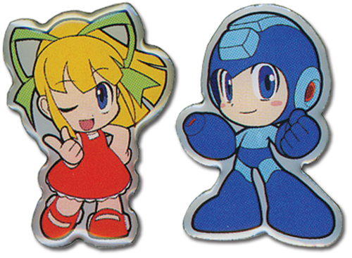 Megaman Powered Up Megaman And Roll Pin Set, an officially licensed product in our Mega Man Pins & Badges department.