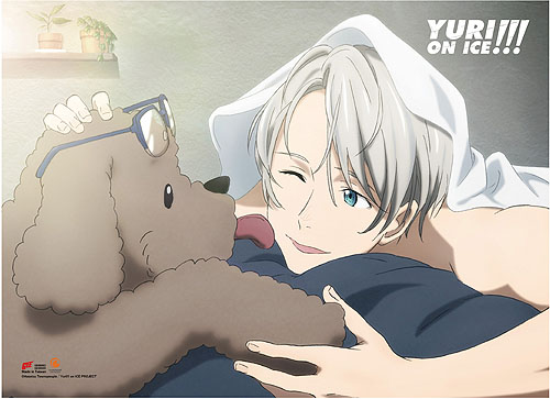 Yuri On Ice!!! - Victor & Makkachin Fabric Poster, an officially licensed product in our Yuri!!! On Ice Posters department.