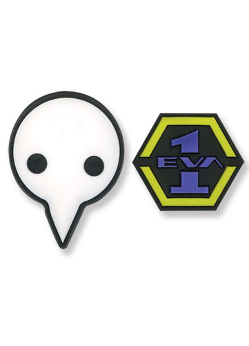 Evangelion Eva 1 & Logo Shito Angel Pvc Pin Set, an officially licensed Evangelion Pin / Badge