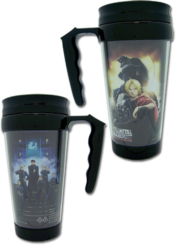 Full Metal Alchemist Brotherhood Group Tumbler With Handle officially licensed Fullmetal Alchemist Mugs & Tumblers product at B.A. Toys.