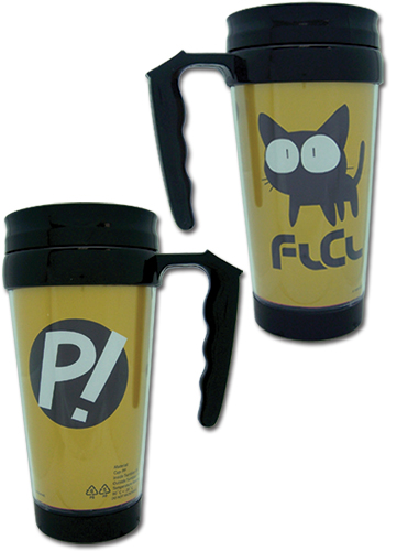Flcl Takkun Cat & P! Tumbler With Handle, an officially licensed FLCL Mug / Tumbler