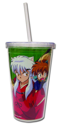Inuyasha - Inuyasha & Shippo Tumbler With Straw Lid, an officially licensed product in our Inuyahsa Mugs & Tumblers department.