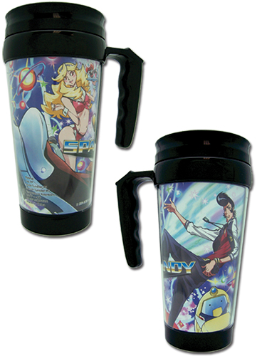 Space Dandy - Dandy Group & Boobie Girl Tumbler With Handle officially licensed Space Dandy Mugs & Tumblers product at B.A. Toys.