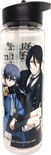 Black Butler B.O.C. - Ciel & Sebastian With A Gun Tritan Water Bottle, an officially licensed product in our Black Butler Book Of Circus Mugs & Tumblers department.