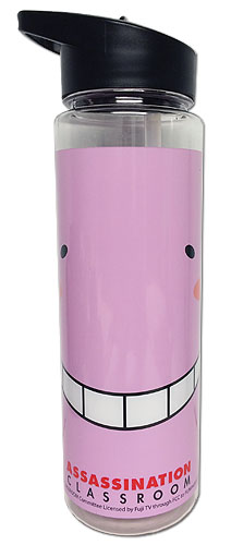 Assassination Classroom - Koro Pink Face Tritan Water Bottle, an officially licensed Assassination Classroom product at B.A. Toys.