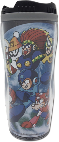 Mega Man - Group & Outer Space Tumbler officially licensed Mega Man Mugs & Tumblers product at B.A. Toys.