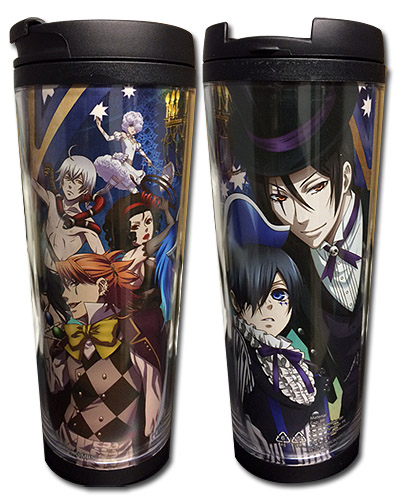 Black Butler B.O.C - Key Art Tumbler officially licensed Black Butler Book Of Circus Mugs & Tumblers product at B.A. Toys.