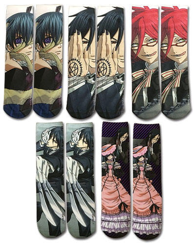 Black Butler - 5 Pack Sublimation Socks, an officially licensed product in our Black Butler Costumes & Accessories department.
