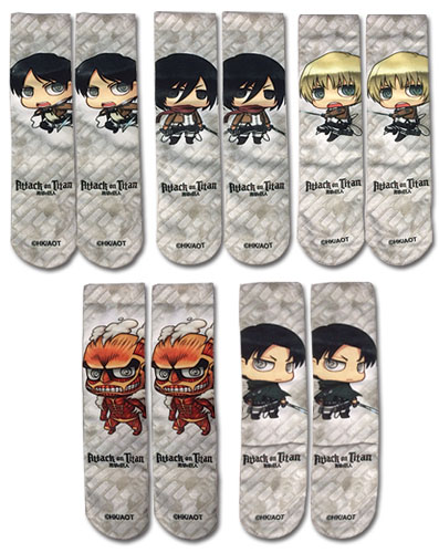 Attack On Titan - Sd Characters 5-Pack Sublimation Socks, an officially licensed Attack On Titan product at B.A. Toys.