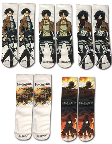 Attack On Titan - 5 Pack Sublimation Socks, an officially licensed product in our Attack On Titan Costumes & Accessories department.