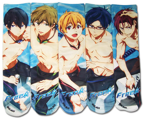 Free! - Sublimation 5 Pack Socks, an officially licensed product in our Free! Costumes & Accessories department.