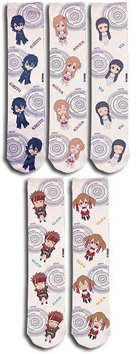 Sword Art Online - Sd Characters 5-Pack Sublimation Socks, an officially licensed product in our Sword Art Online Costumes & Accessories department.