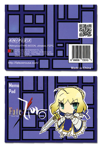 Fate/Zero Saber Memo Pad officially licensed Fate/Zero Stationery product at B.A. Toys.