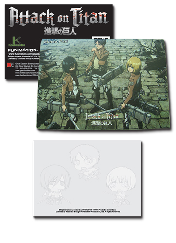 Attack On Titan - Eren, Mikasa, Armin Memo Pad, an officially licensed Attack on Titan Stationery