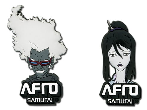 Afro Samurai Ninja Ninja & Okiku Pin Set, an officially licensed Afro Samurai product at B.A. Toys.