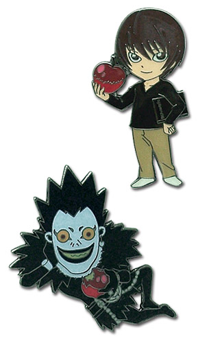 Death Note Light & Ryuk Pin Set, an officially licensed Death Note product at B.A. Toys.