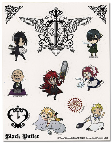 Black Butler Sticker Sheet, an officially licensed Everything Else product at B.A. Toys.