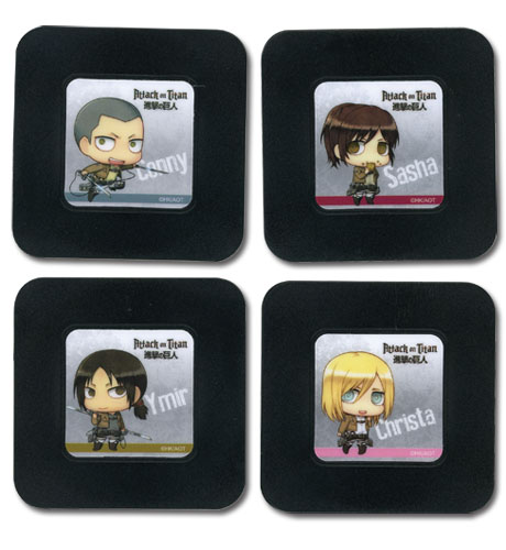 Attack On Titan - Set 6 Coaster officially licensed Attack On Titan Coasters product at B.A. Toys.