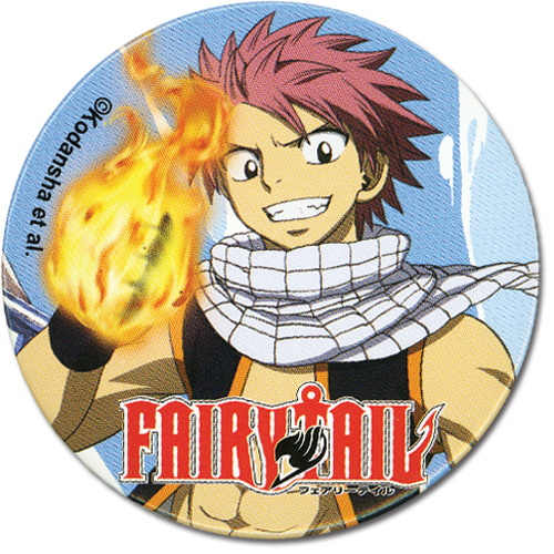Fairy Tail Natsu 2.19 Button, an officially licensed Fairy Tail product at B.A. Toys.