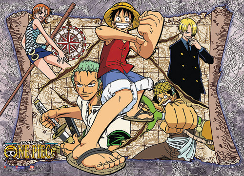 One Piece Map Fabric Poster officially licensed One Piece Posters product at B.A. Toys.