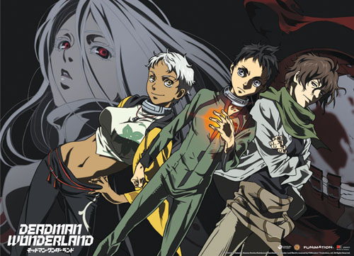 Deadman Wonderland Ganta, Nagi, Karako, Shiro Fabric Poster, an officially licensed product in our Deadman Wonderland Posters department.