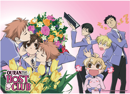 Ouran High School Host Club Group Bouquet Of Flowers Fabric Poster, an officially licensed product in our Ouran High School Host Club Posters department.