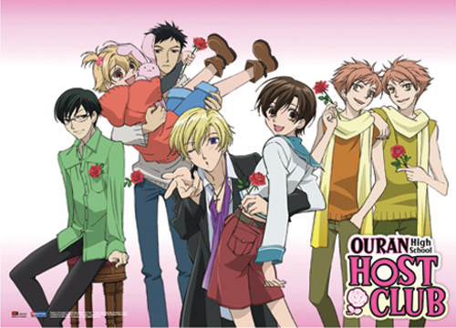 Ouran High School Host Club Group Holding Rose Fabric Poster, an officially licensed product in our Ouran High School Host Club Posters department.