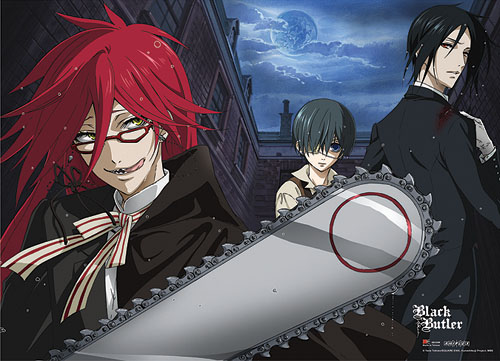 Black Butler Sebastain, Ciel, & Grell Fabric Poster, an officially licensed product in our Black Butler Posters department.