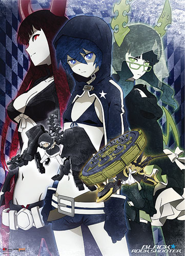 Black Rock Shooter Brs, Dm, And Bgs Fabric Poster, an officially licensed Black Rock Shooter product at B.A. Toys.