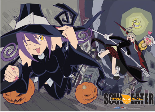 Soul Eater Blair & Pumpkin Fabric Poster, an officially licensed product in our Soul Eater Posters department.