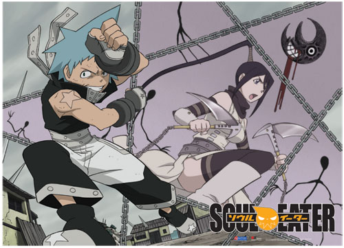 Soul Eater Black Star & Tsubaki Fabric Poster, an officially licensed product in our Soul Eater Posters department.