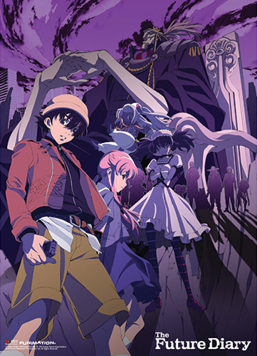 Future Diary - Group Purple Background Fabric Poster, an officially licensed product in our Future Diary Posters department.