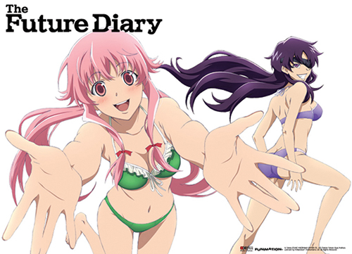Future Diary - Yuno And Minene Swimwear Fabric Poster, an officially licensed product in our Future Diary Posters department.