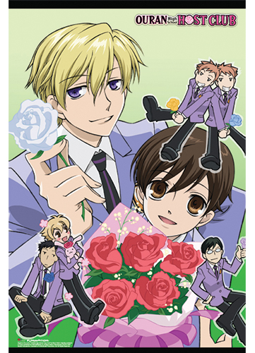 Ouran H.S Host Club - White Rose Group Paper Poster, an officially licensed product in our Ouran High School Host Club Posters department.