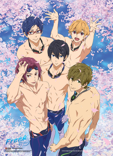 Free! - Group Pool With Sakura Fabric Poster, an officially licensed product in our Free! Posters department.