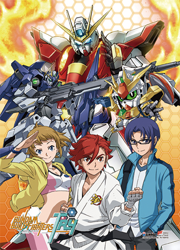 Gundam Build Fighters Try - Group Fabric Poster, an officially licensed product in our Gundam Build Fighters Try Posters department.