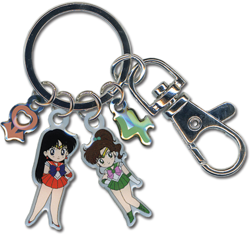 Sailormoon Sailor Jupiter And Mars Metal Keychain, an officially licensed product in our Sailor Moon Key Chains department.