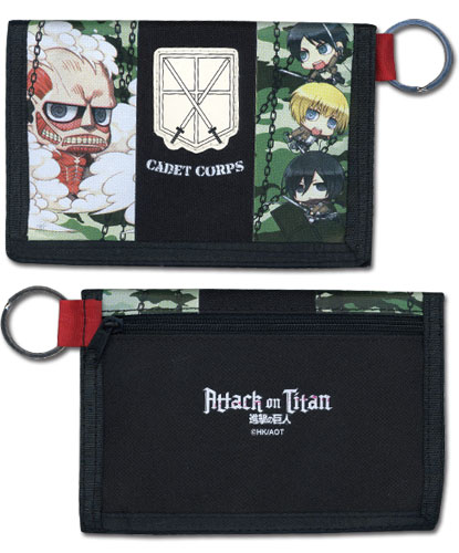 Attack On Titan - Group Sd Camo Wallet, an officially licensed Attack On Titan product at B.A. Toys.