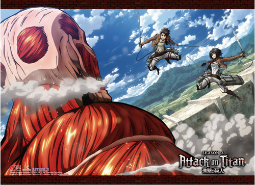 Attack On Titan S2 - Colossal Titan V.S. Eren & Mikasa High-End Wall Scroll, an officially licensed Attack On Titan product at B.A. Toys.