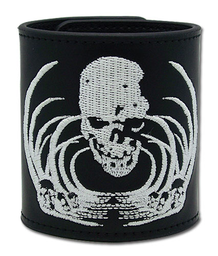 Death Note Skull Embroidery Leather Wristband, an officially licensed product in our Death Note Wristbands department.