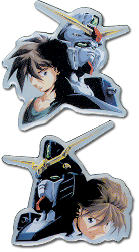 Gundam Wing Heero And Duo Pinset officially licensed Gundam Wing Pins & Badges product at B.A. Toys.