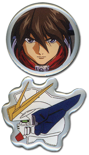 Gundam Wing Heero And Wing Pinset officially licensed Gundam Wing Pins & Badges product at B.A. Toys.